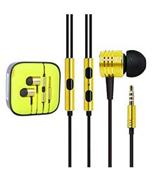 In Ear Metallic Piston designed With High Quality for MP3 / MP4 / Laptops / Computers / all SmartPhones and Tablets (Yellow)