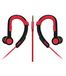 Universal Earphone In-Ear Sports Earhook Headphones 3.5mm With Mic For All Android And IOS SmartPhones Red
